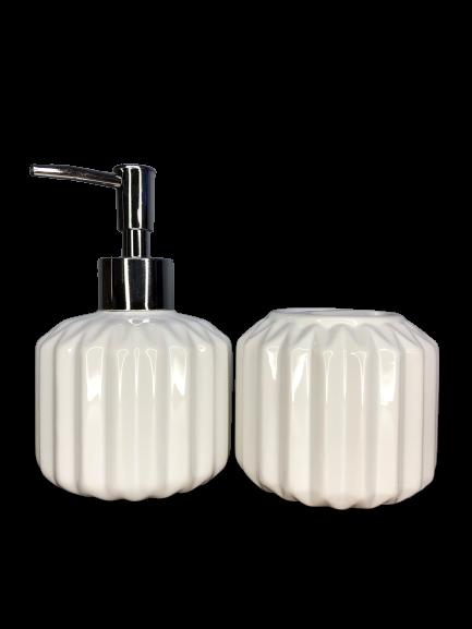 Kit de Banheiro de Cerâmica 2 Peças Retrô Branco
