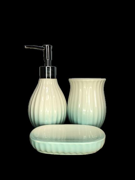 Kit de Banheiro de Cerâmica 3 Peças Vintage Azul