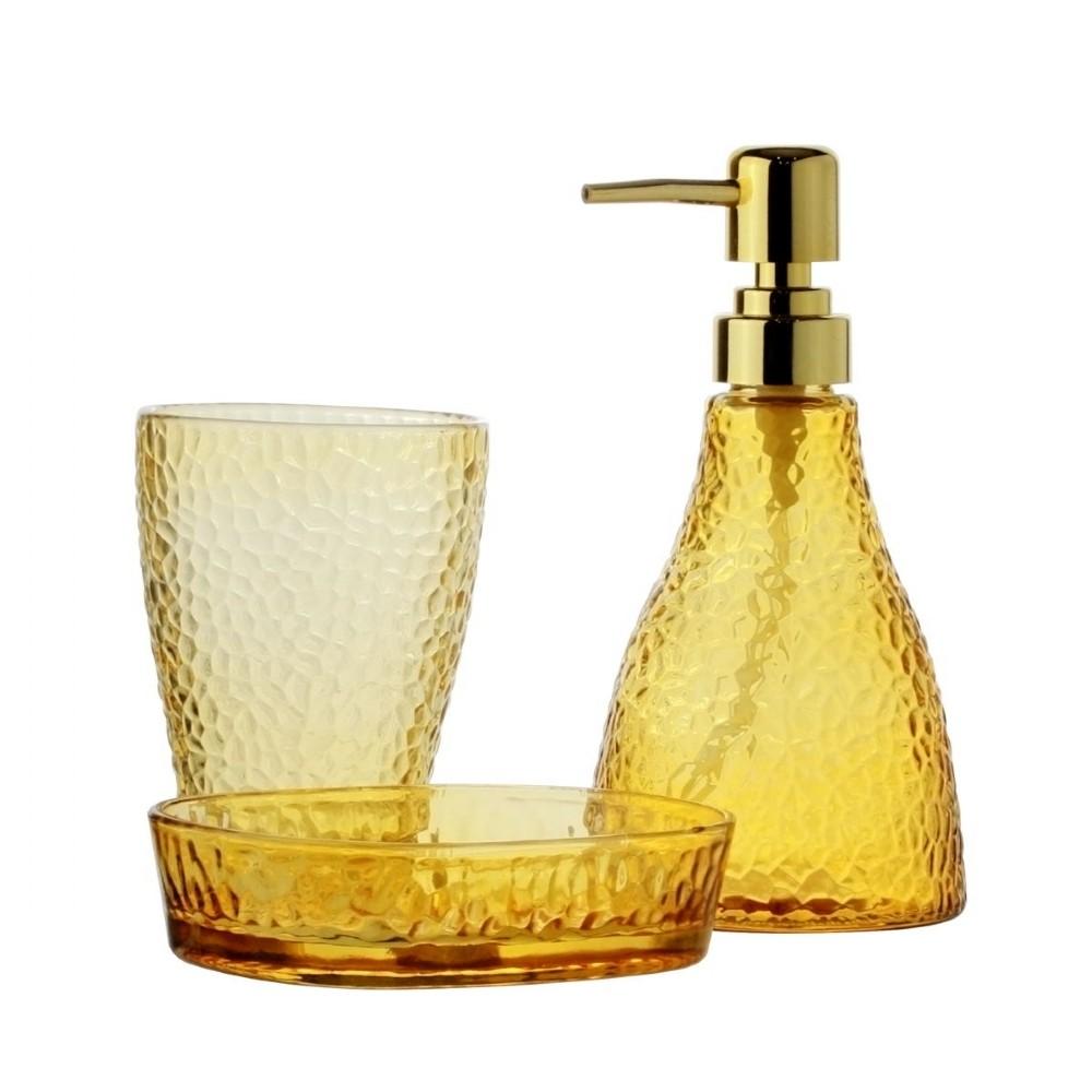 Kit de Banheiro de Vidro 3 peças Elegant Âmbar
