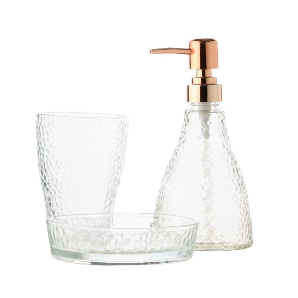 Kit de Banheiro de Vidro 3 peças Elegant Dourado