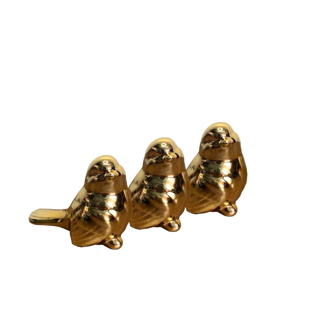 Kit de Pássaros de Porcelana Dourados 11x8cm