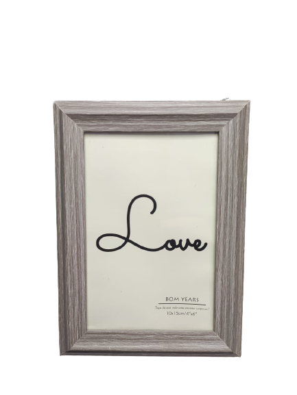 Porta Retrato 10x15cm Love Cinza