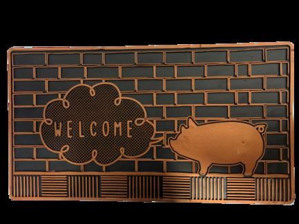 Tapete Capacho de Porta 32x60 cm Welcome Porquinho Bronze JR