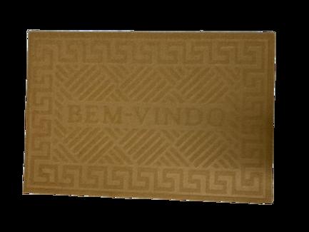 Tapete Capacho de Porta 40x60 cm Bem Vindo Bege