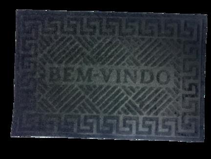 Tapete Capacho de Porta 40x60 cm Bem Vindo Preto