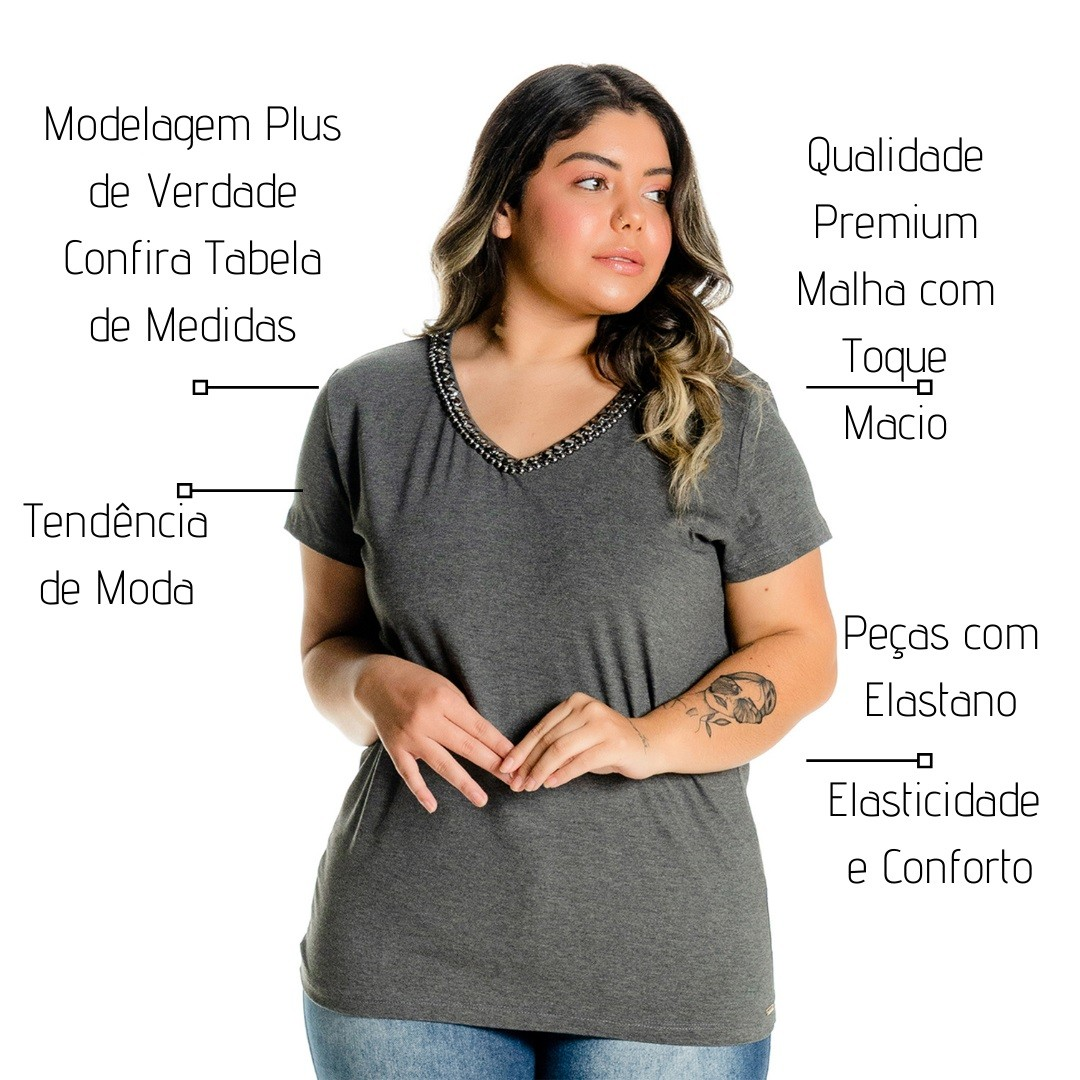 Blusa Decote V Bordada 102535