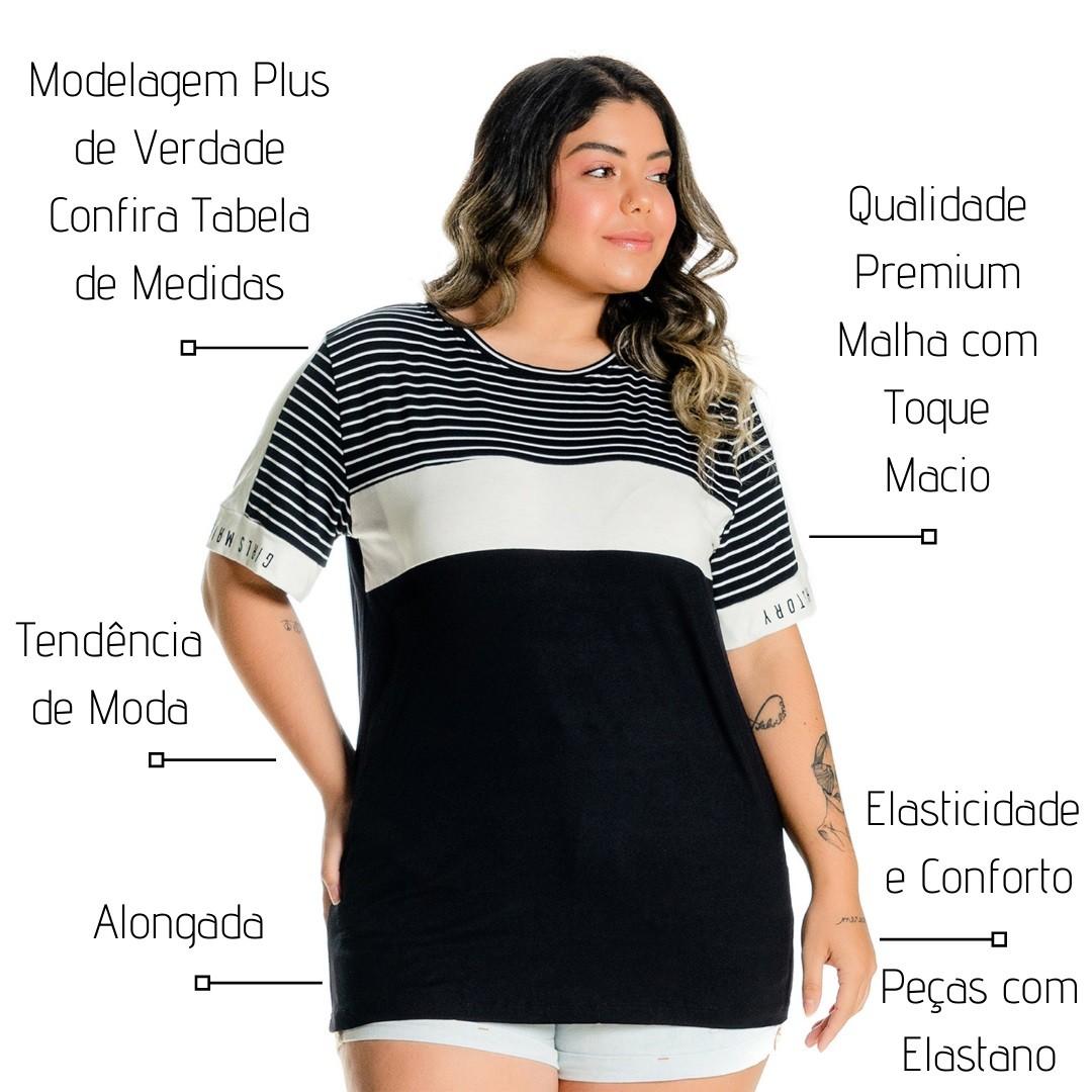 Blusa Plus Size com Listrado 102544