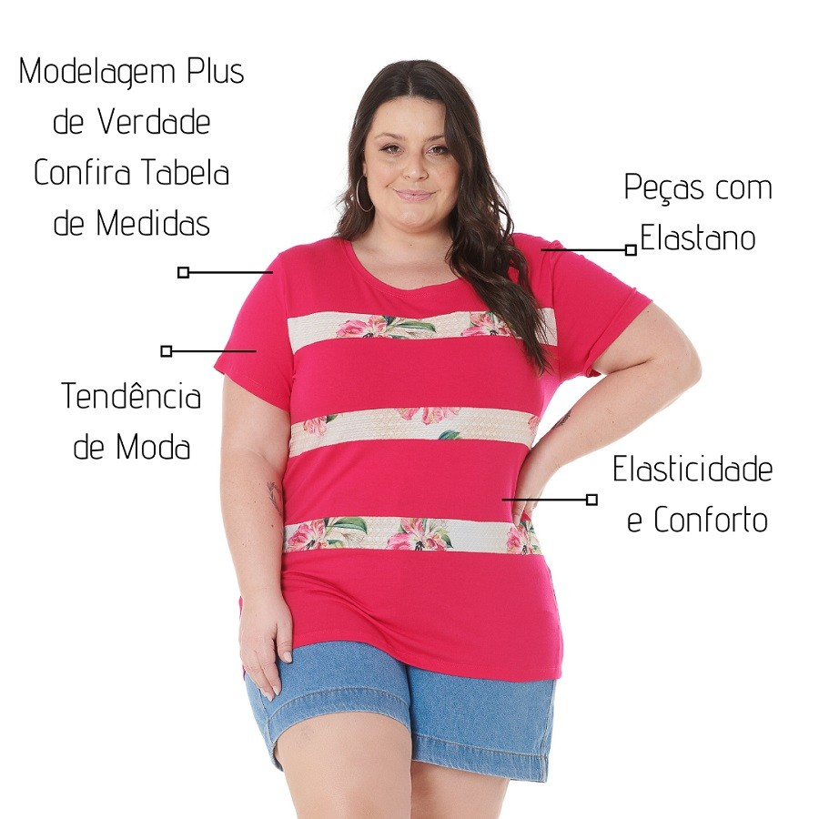 Blusa PLus Size Pink Estampada 102550