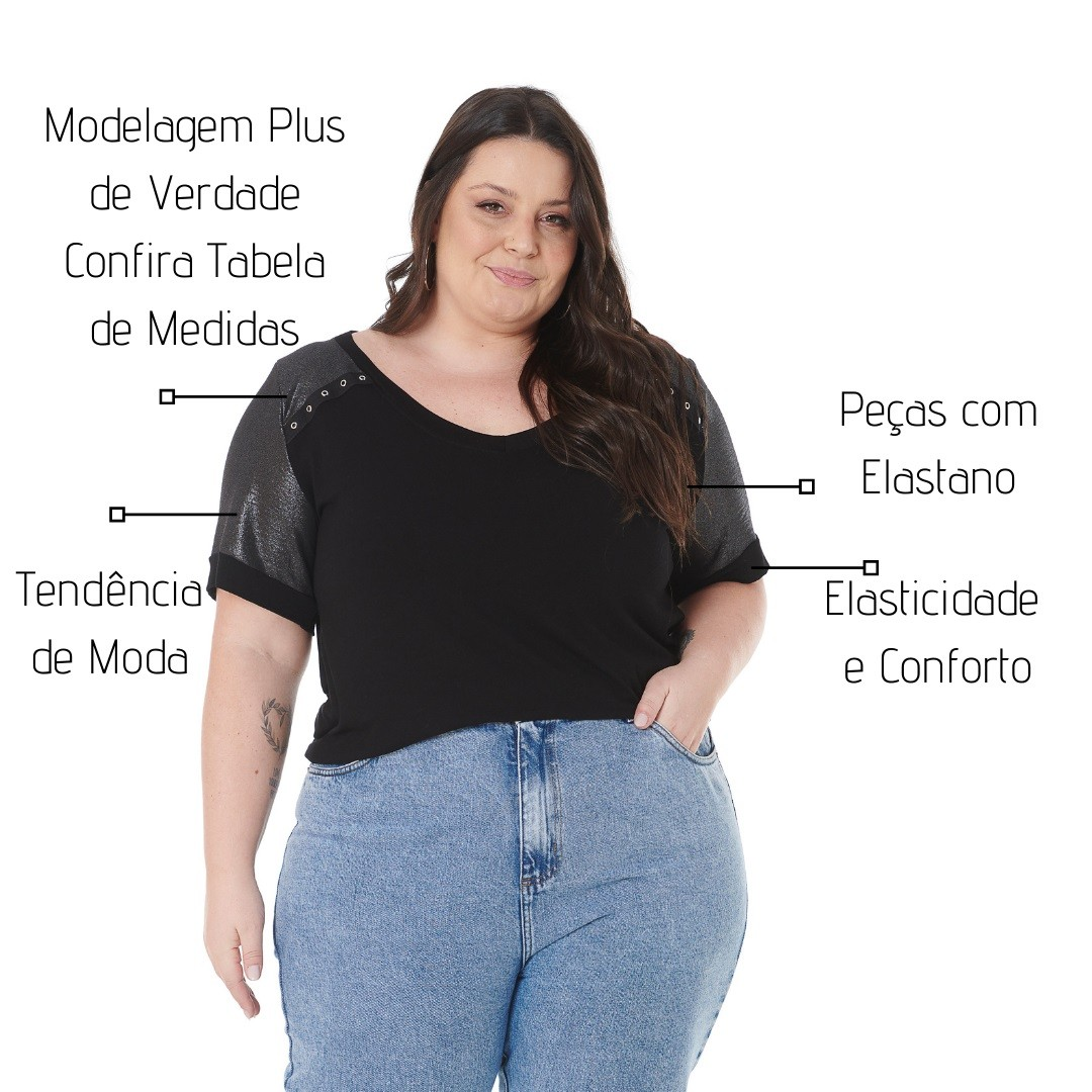 Blusa Plus Size com Brilho e Ilhos 102551