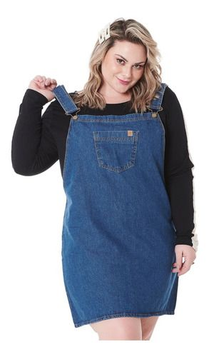 Jardineira Salopete Jeans Plus Size 92676