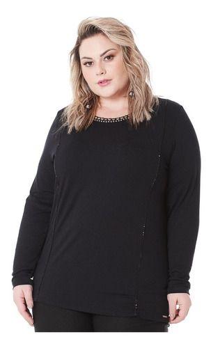 Blusa Feminina Decote Bordado Plus Size 101527
