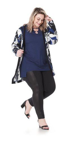 Casaco Cardigan Estampado Feminino Plus Size 101560.70