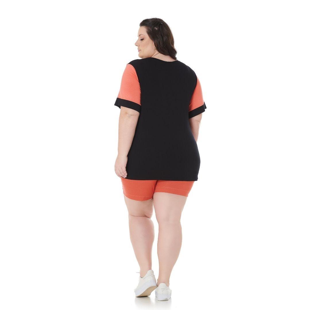 Blusa Bicolor Plus Size com Estampa 102567