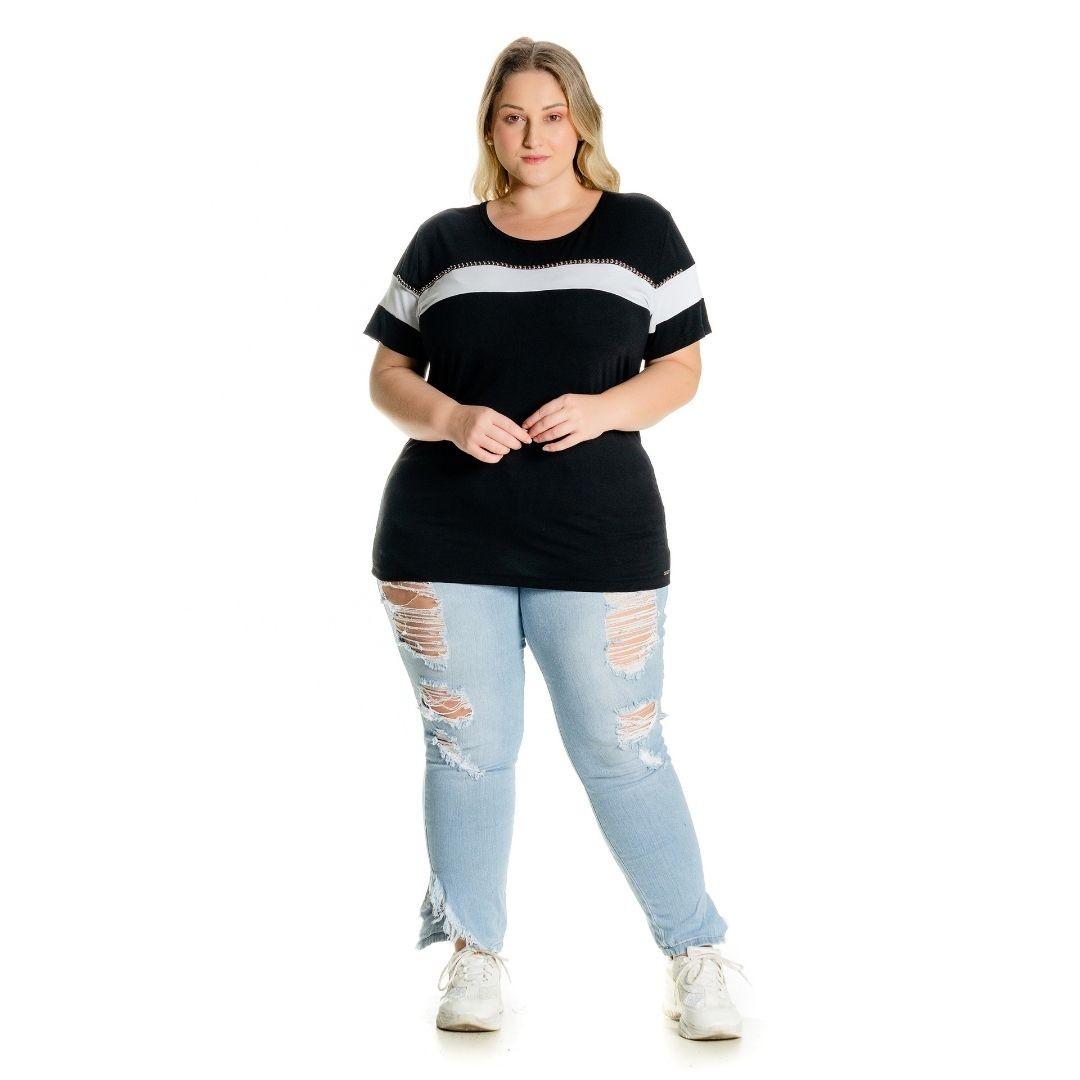 Blusa Black White com Bordado 102510