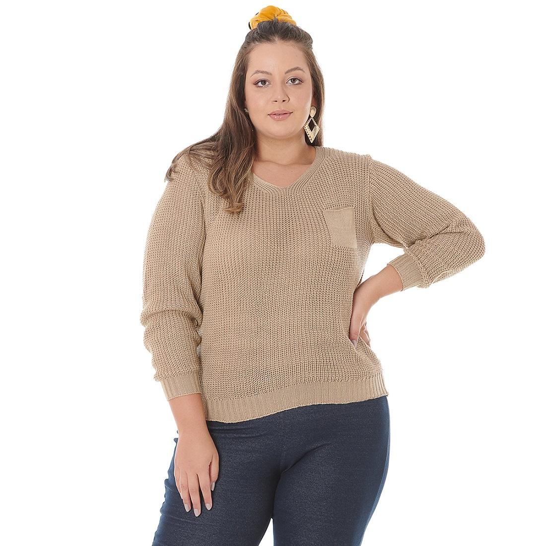 Blusa de Tricot Plus com Bolso