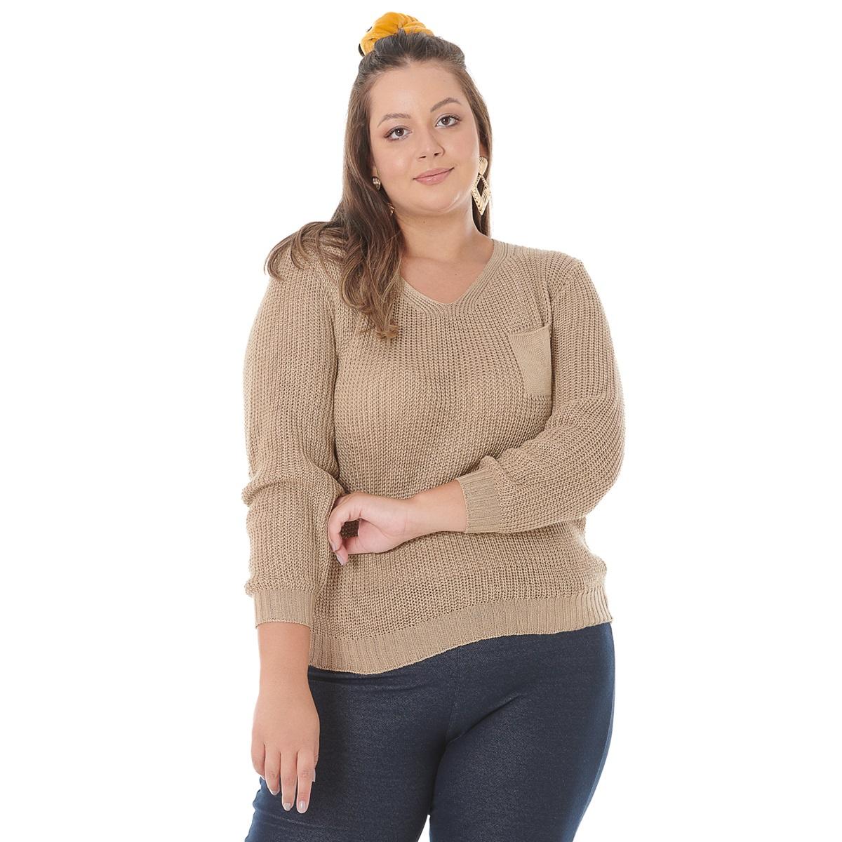 Blusa de Tricot Plus com Bolso 0953