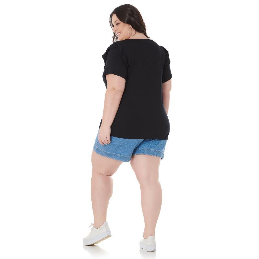 Blusa decote v com babados ombro 102571