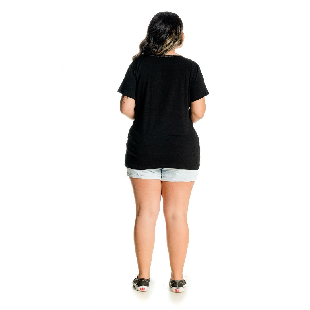 Blusa feminina com Brilho e Estampa 102520