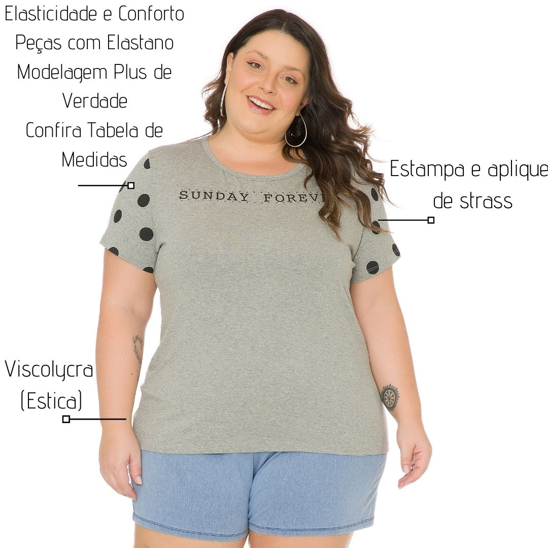 Blusa Feminina Plus Size com estampa 103706