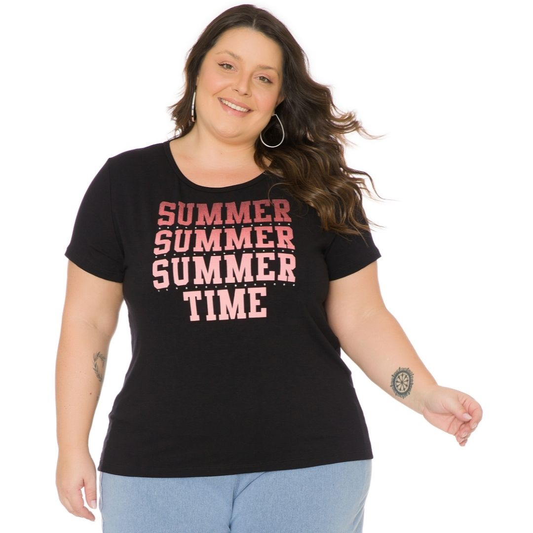 Blusa Feminina Plus Size com estampa 103708