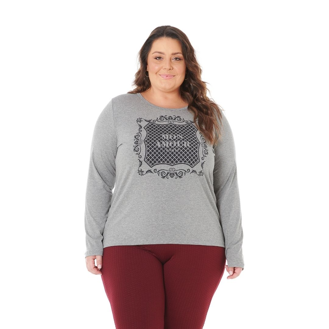 Blusa feminina Plus Size com estampa amour 1128-2