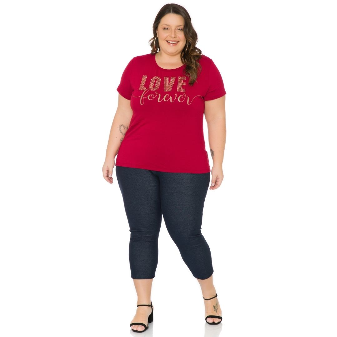 Blusa Feminina Plus Size com estampa e Aplique 103700