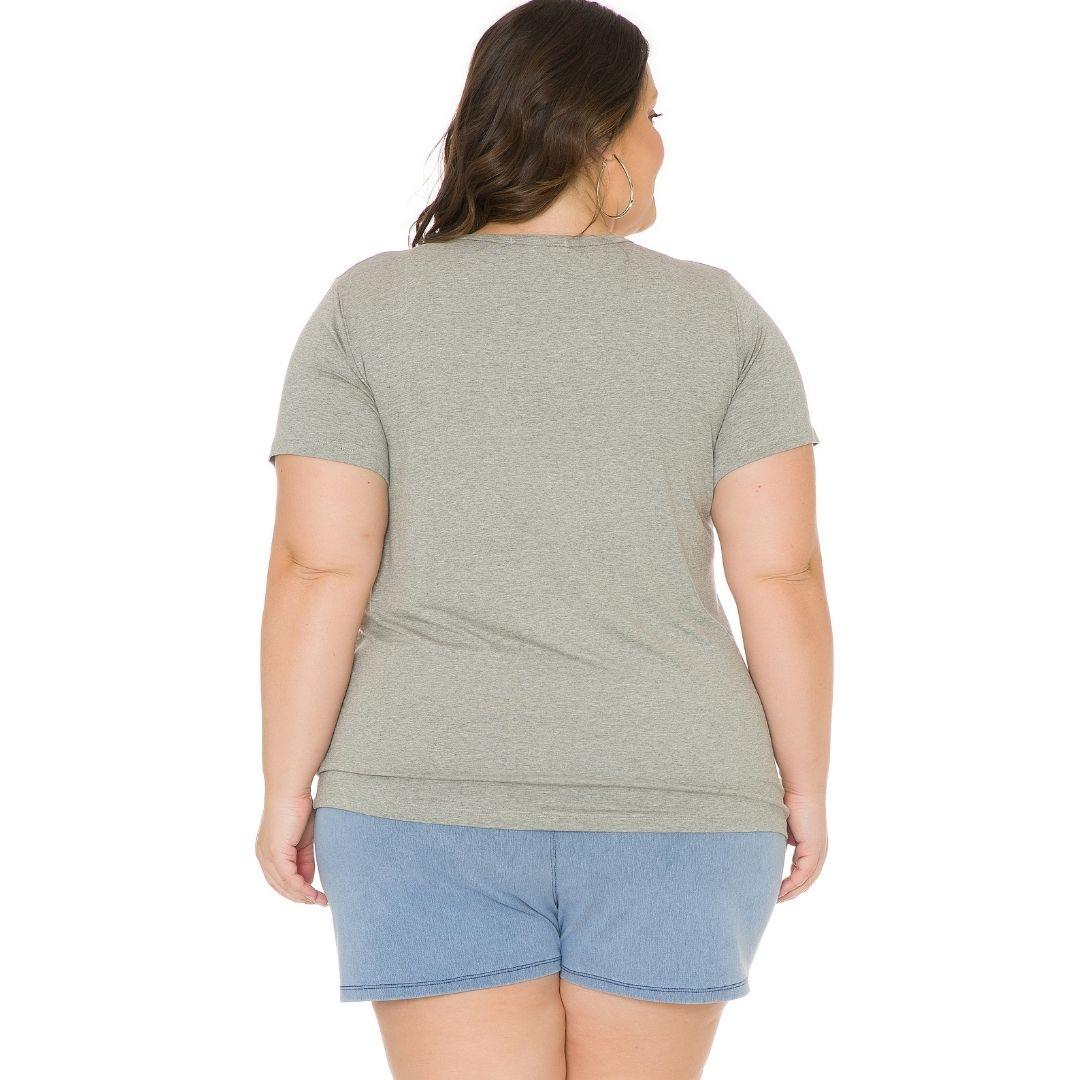 Blusa Feminina Plus Size com Estampa e Aplique 103705