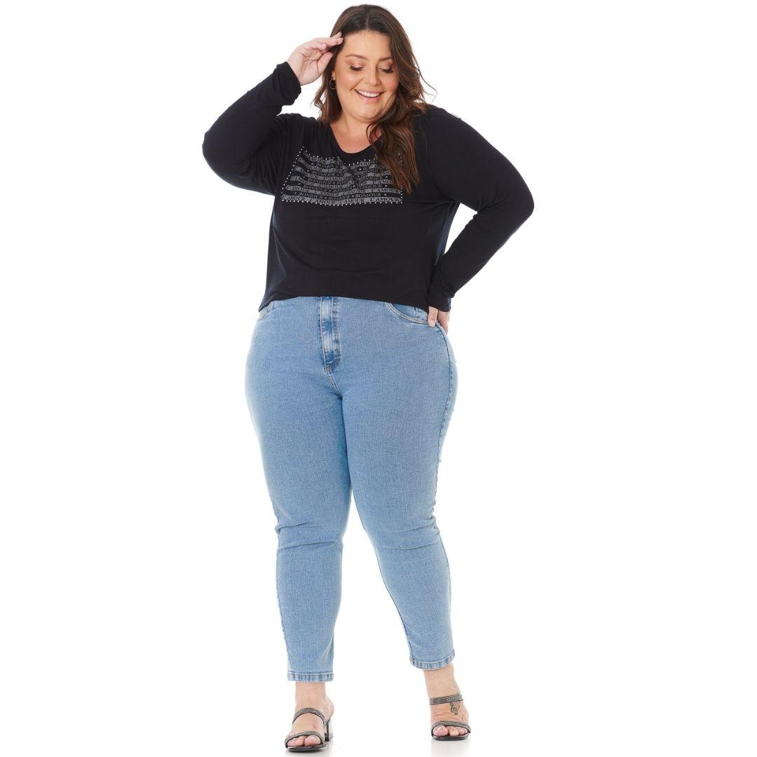 Blusa Feminina Plus Size com Estampa e strass 103617
