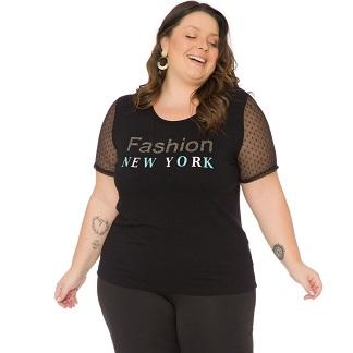Blusa Feminina Plus Size  com estampa e Tule 103735