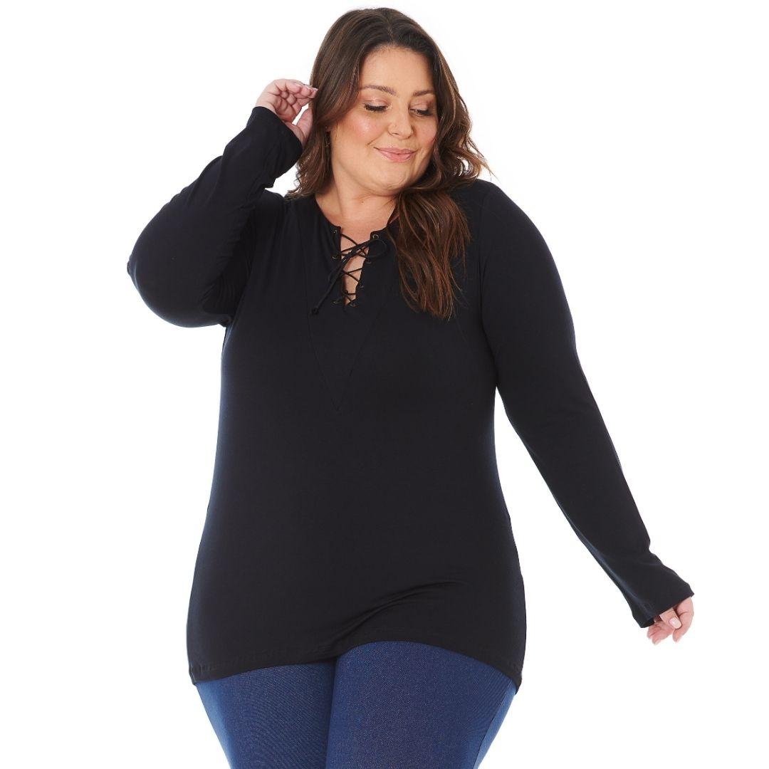 Blusa Feminina Plus Size com Ilhos de Viscolycra 103608