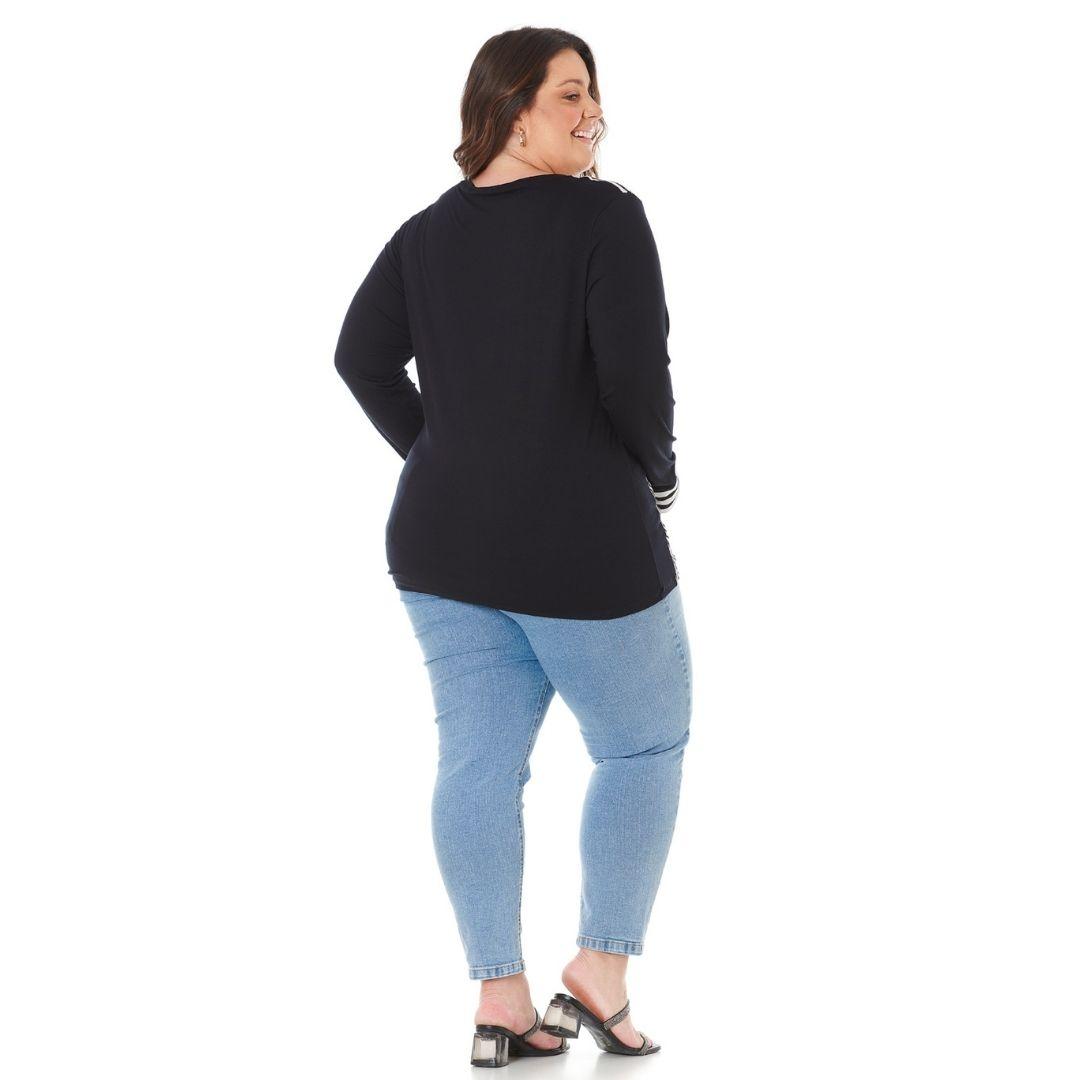 Blusa Feminina Plus Size com Listrado e botões 103614