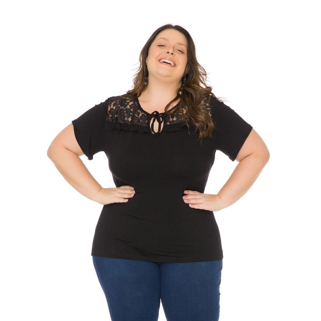Blusa feminina Plus Size com renda 103716