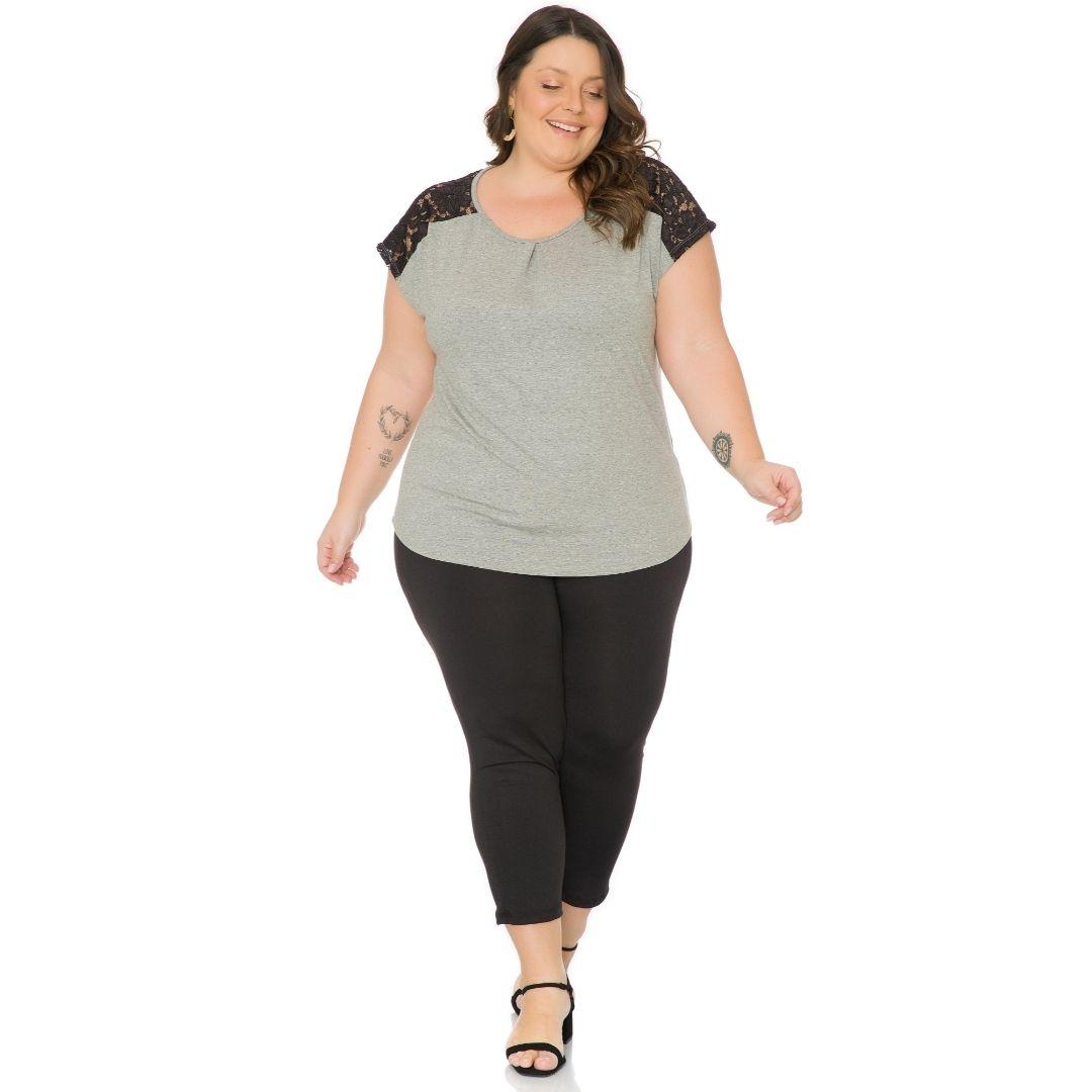 Blusa Feminina Plus Size com Renda 103717