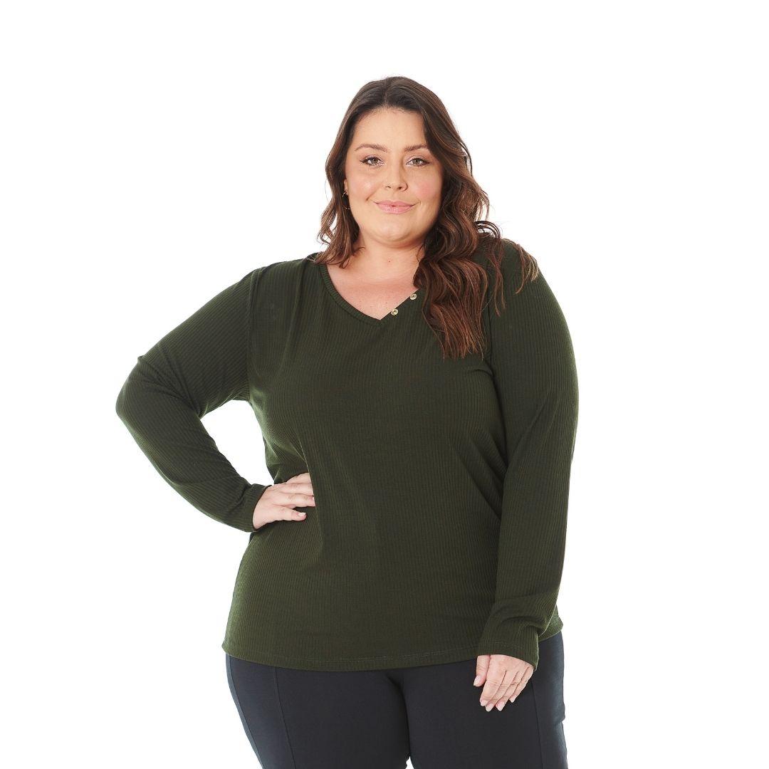 Blusa Feminina Plus Size de Ribana e Botões 103611