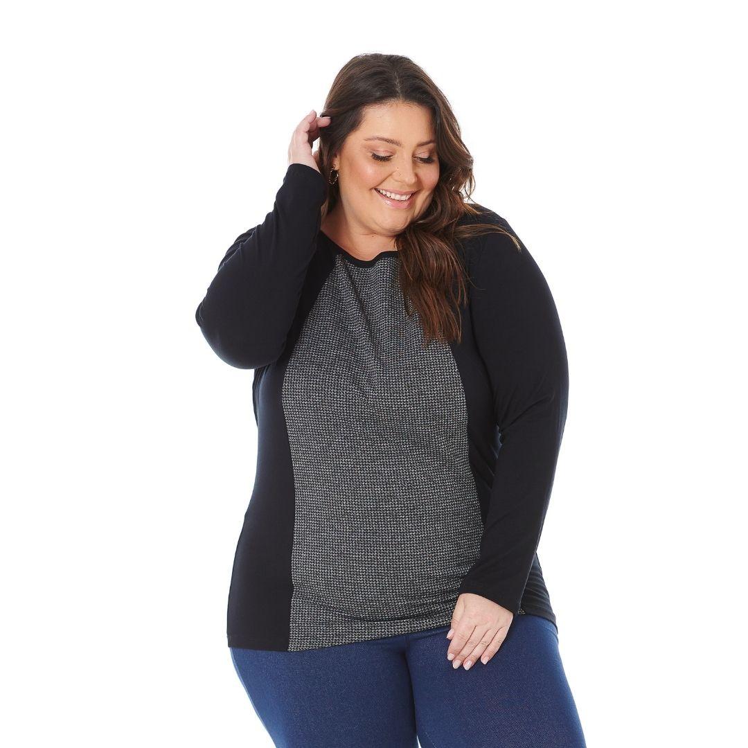 Blusa feminina Plus Size de Viscolycra com frente em Pe de Pule 103600