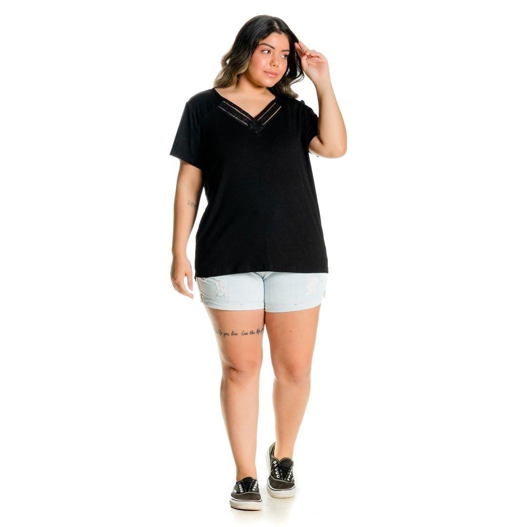 Blusa feminina Plus Size decote V 102516
