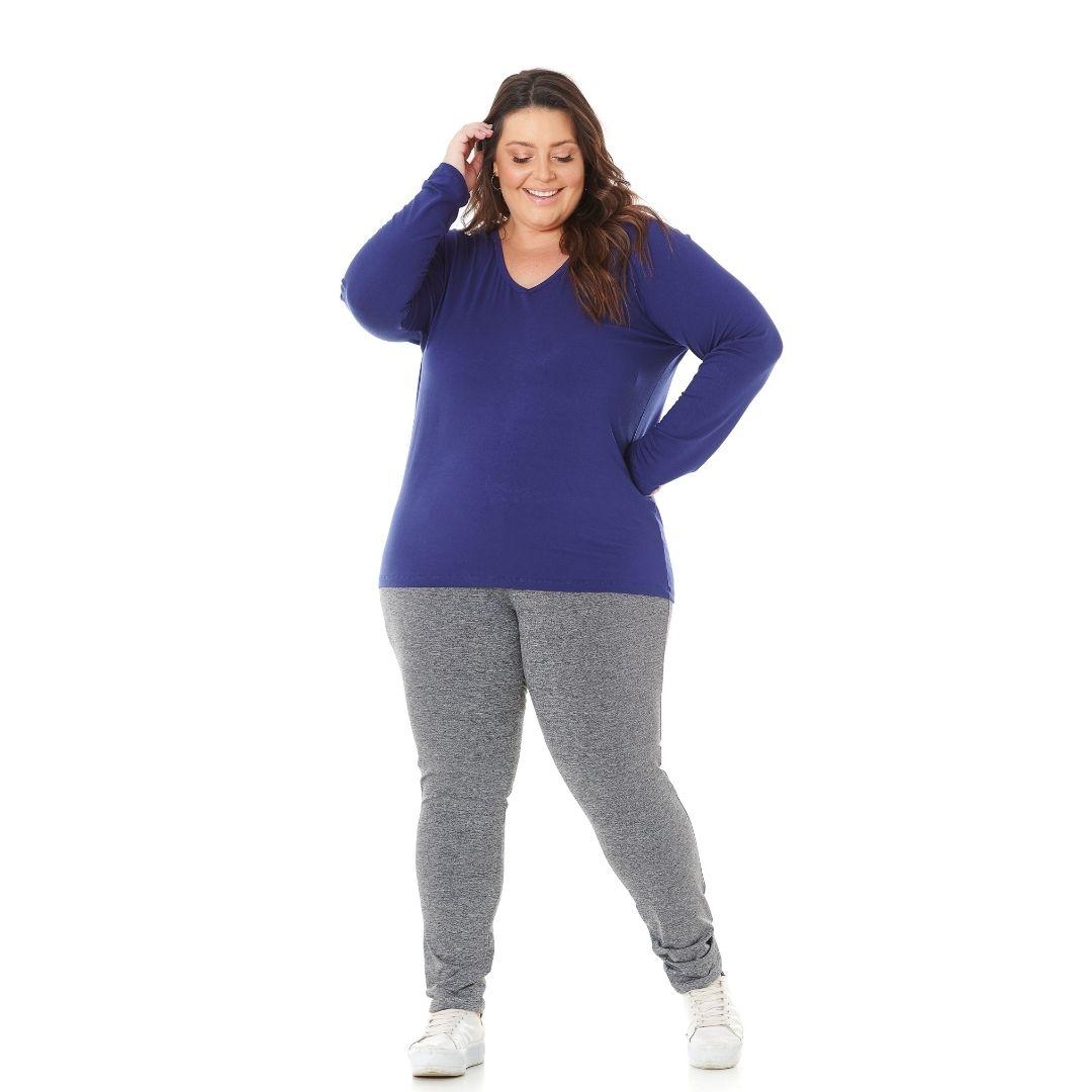 Blusa Feminina Plus Size Decote V 1129