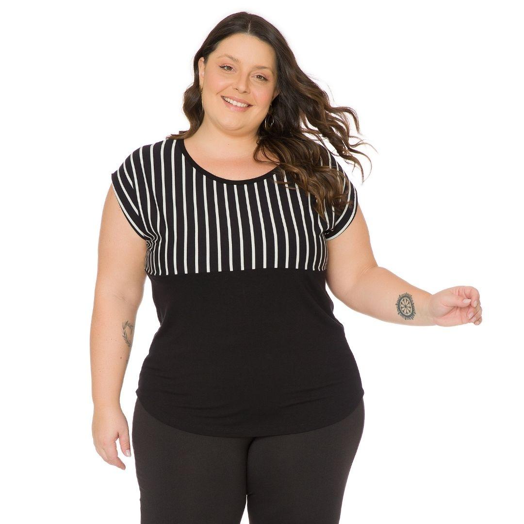 Blusa Feminina Plus Size Listrada 103719