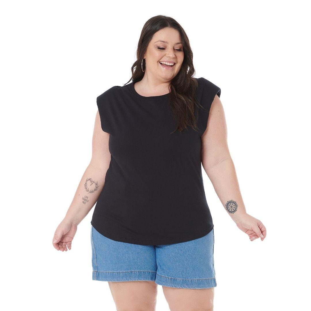 Blusa feminina Plus Size malha de Ombreira 102560