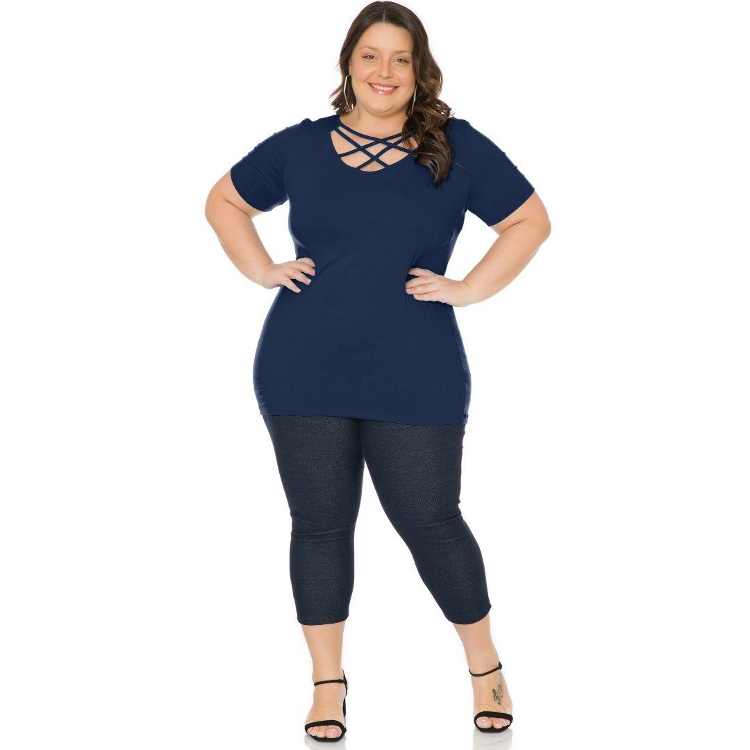 Blusa Plus Size Feminino Com Tiras 103722