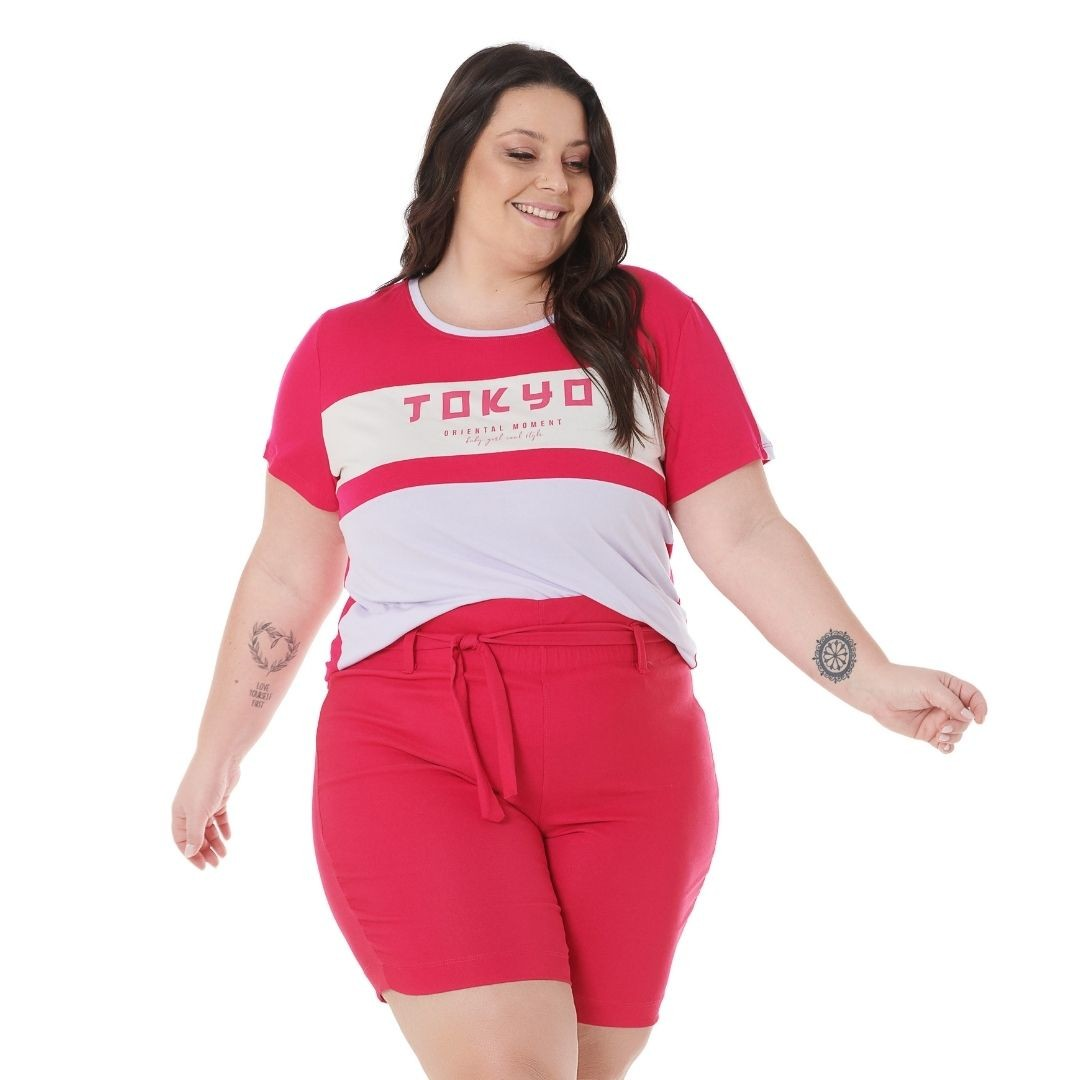Blusa Plus size pink  com Estampa Tokio 102555