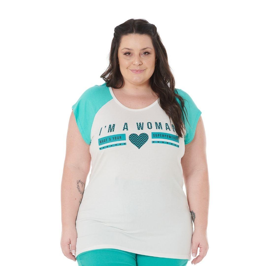 Blusa Plus Size raglan com estampa 102559