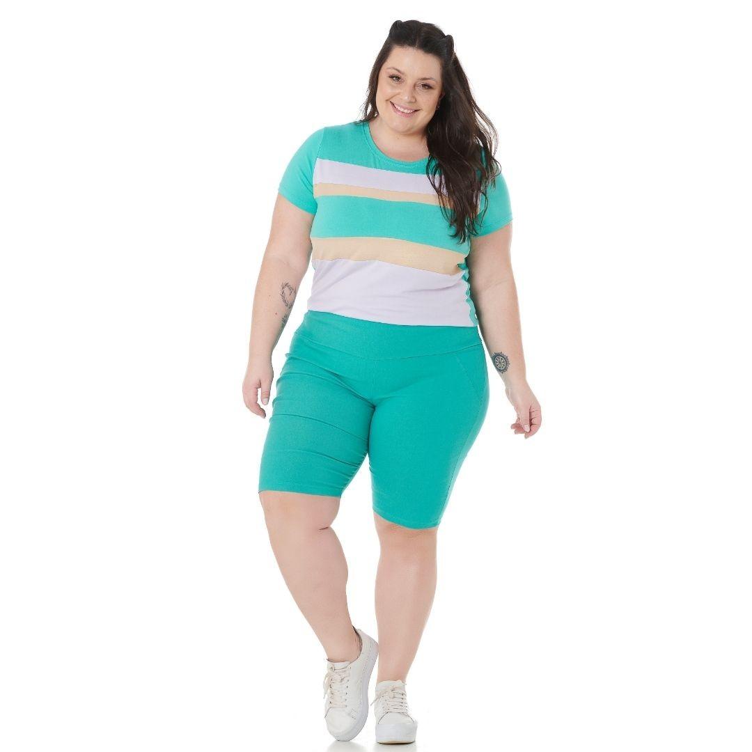Blusa Plus Size Tricolor detalhe dourado 102549