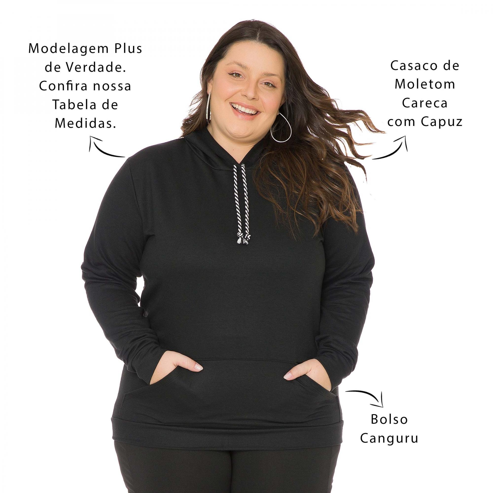 Blusão Casaco de Moletom Feminino Plus Size com Bolso Canguru e Capuz 1137