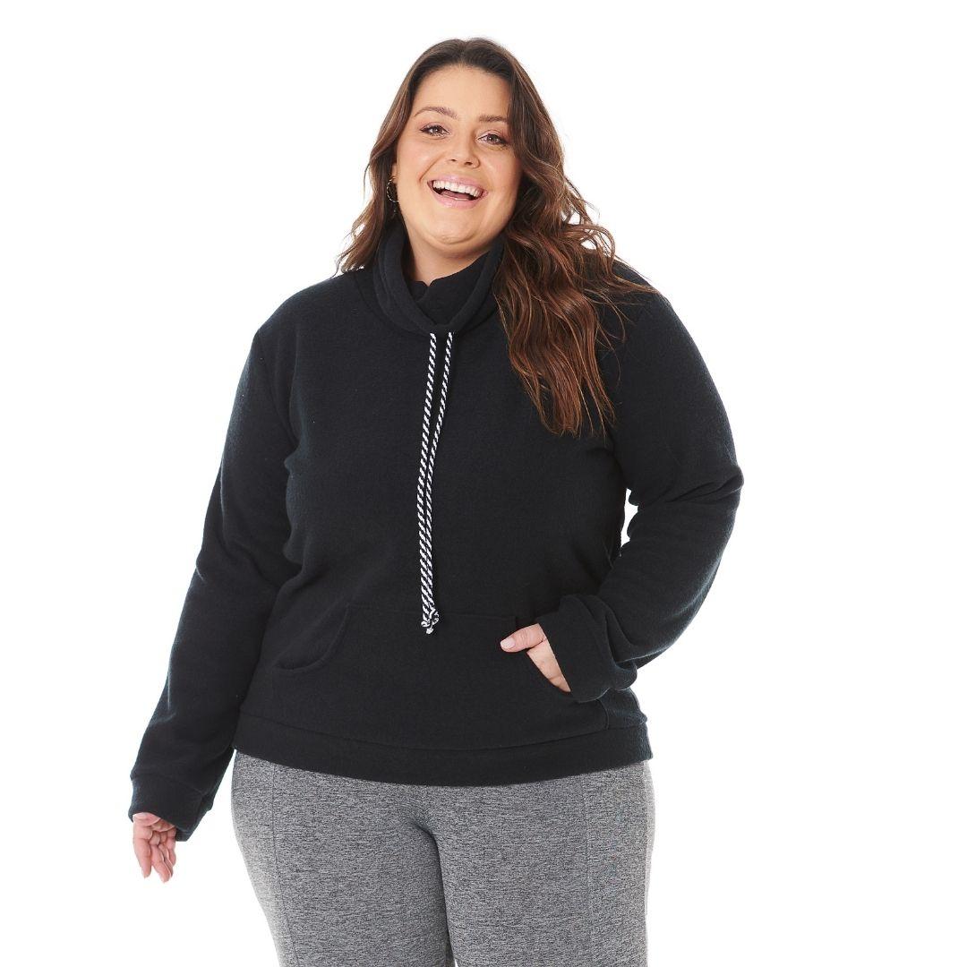Blusão de Inverno Plus Size gola alta e bolso canguru 103622