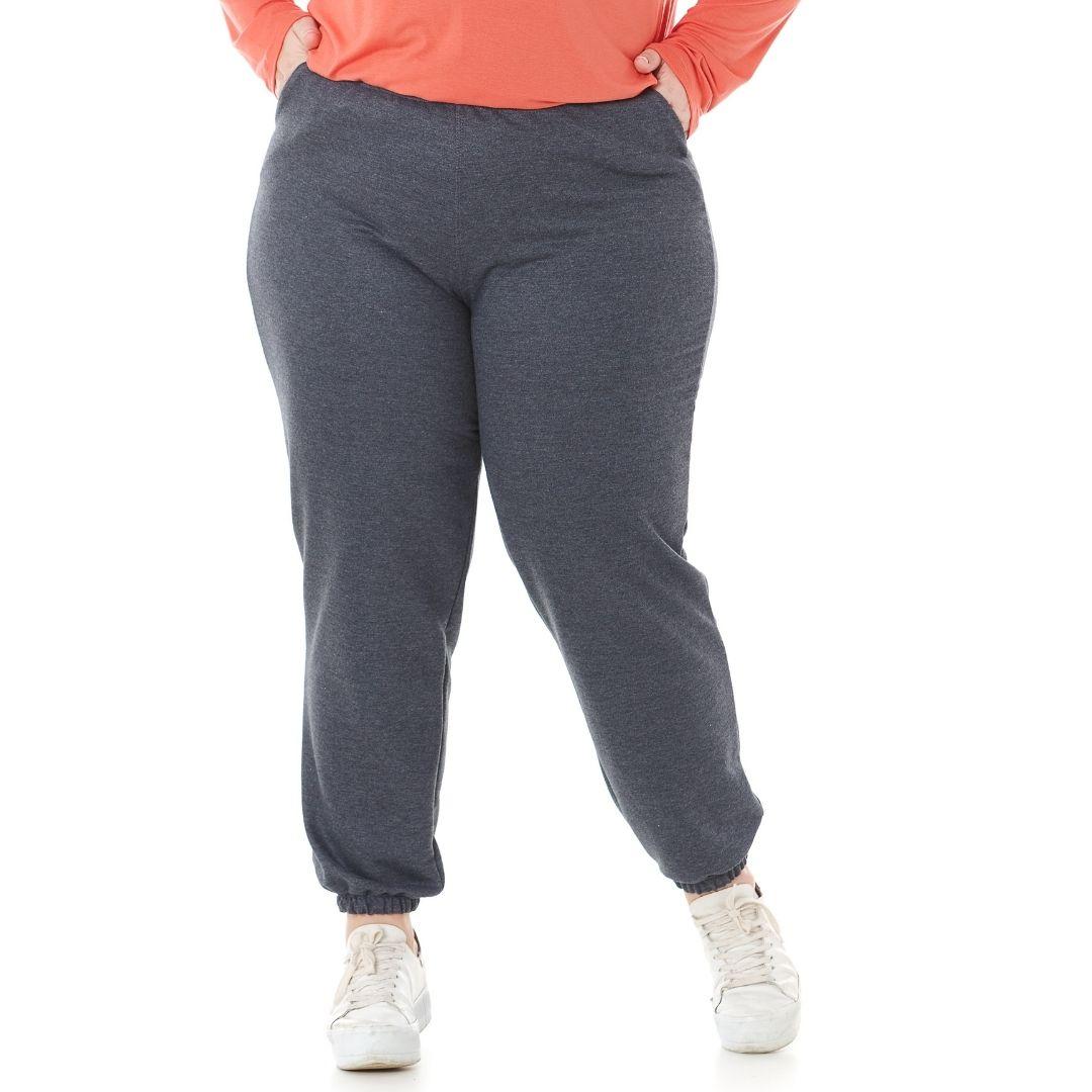 Calça de Moletom Feminino Plus Size jogger 1135
