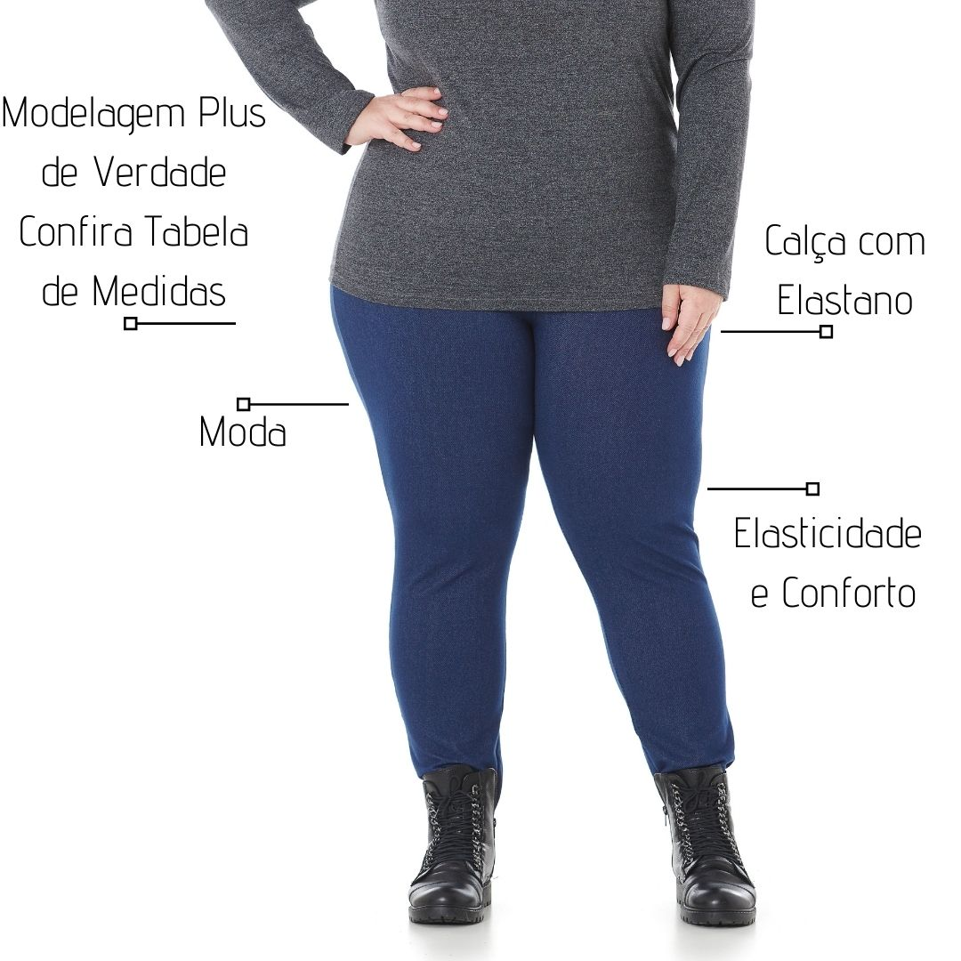 Calça Leggging Feminina Plus Size Cotton Jeans 103624