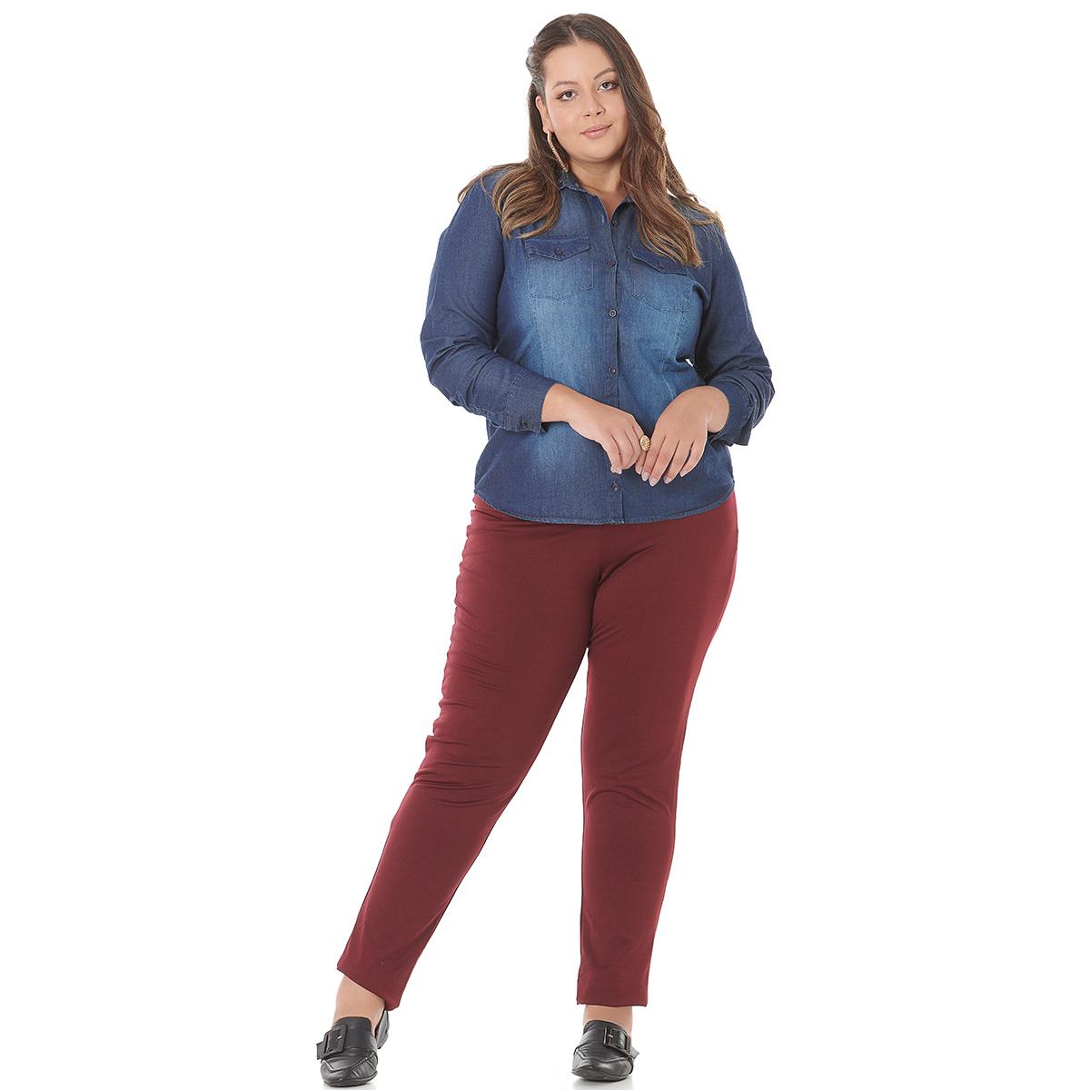 Camisa Camisete Feminino Plus Size Jeans 4004