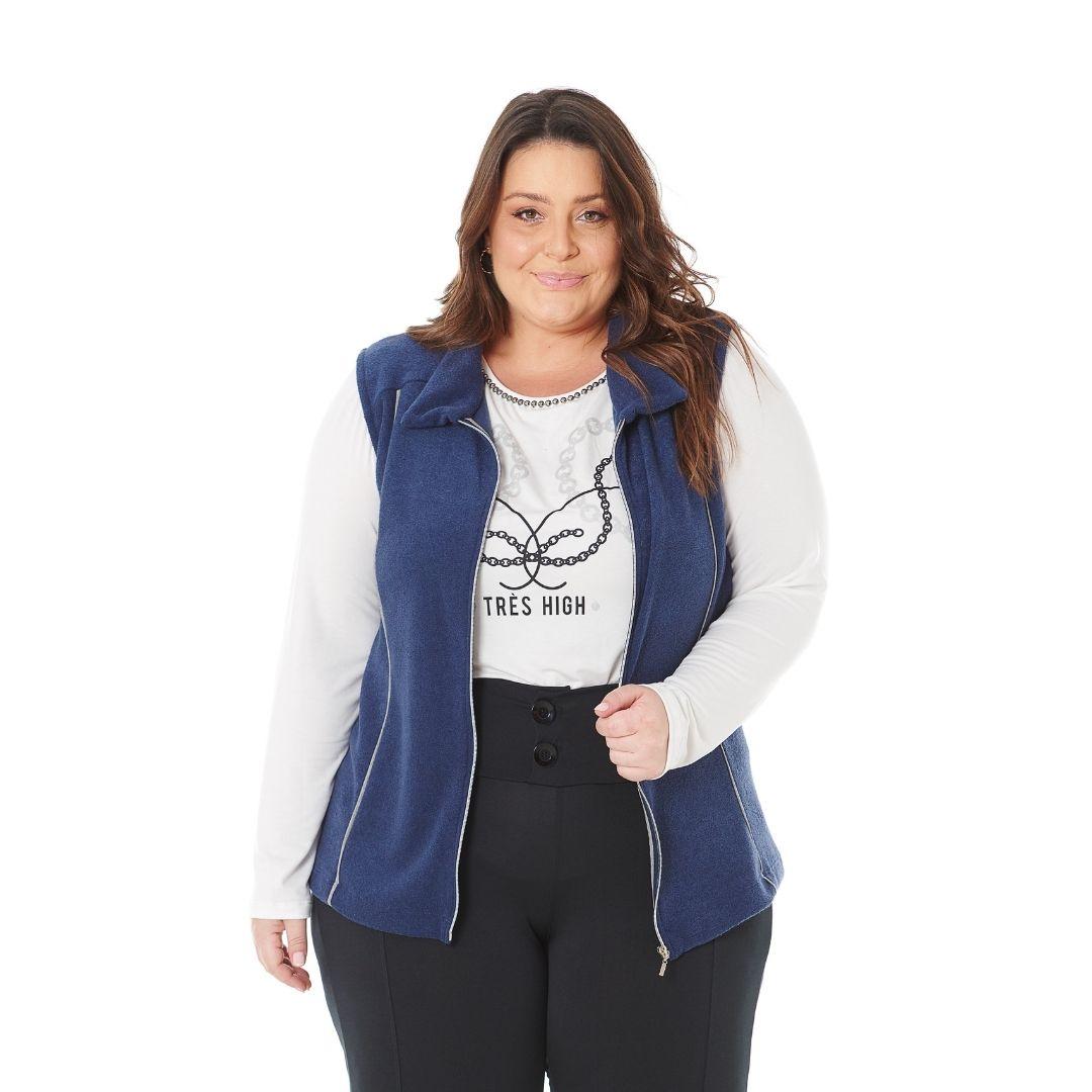 Colete Plus Size Feminino com Ziper 103605