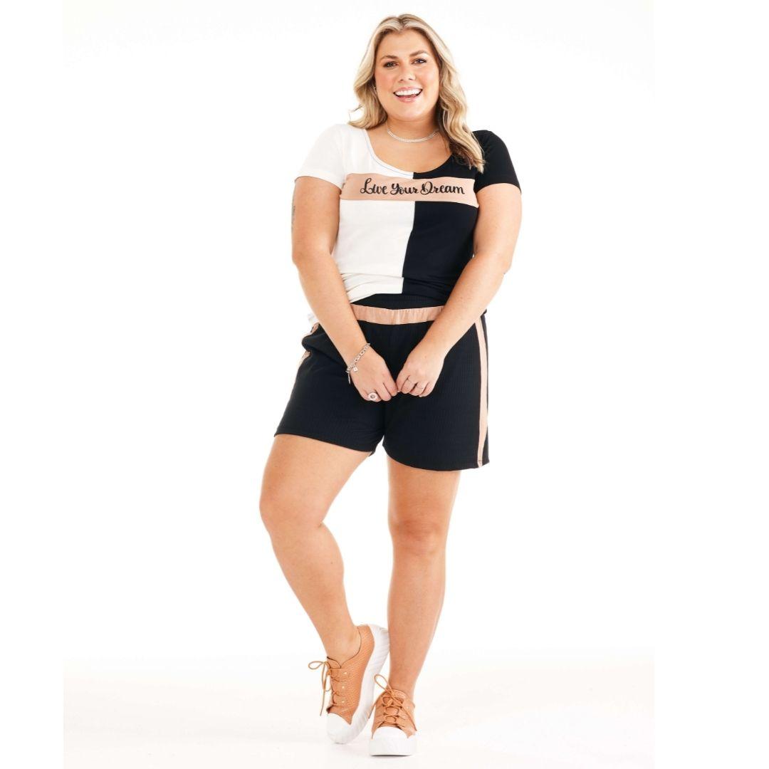 Conjunto Blusa e Shorts Feminino Plus Size 101489